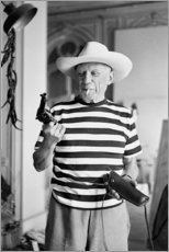 Canvastavla  Picasso med en revolver - Celebrity Collection