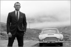 Trätavla  Daniel Craig som James Bond (svartvit) - Celebrity Collection