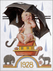 Trätavla  Beginning to Rain - Joseph Christian Leyendecker