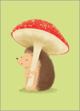 Premiumposter  Hedgehog with mushroom - Sandy Lohß