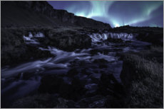 Galleritryck  Northern lights at the waterfall, Iceland - Christian Möhrle