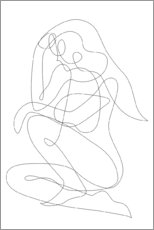 Poster Thinking woman - lineart
