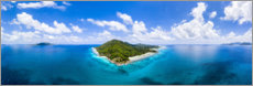 Poster Seychelles panorama aerial view