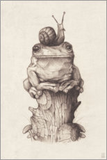 Canvastavla  The frog and the snail, vintage - Mike Koubou