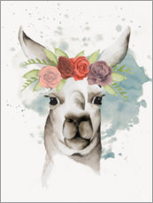 Galleritryck  Lama with flower crown II - Grace Popp