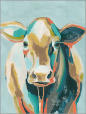 Trätavla  Colorful cow II - Grace Popp