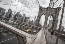 Premiumposter Brooklyn Bridge with yellow taxis