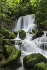 Premiumposter Waterfall on the rock slope, France