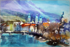 Akrylglastavla  View to the Inn Bridge and Innsbruck Cathedral - Johann Pickl