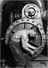 Canvastavla  Power plant worker at a steam engine