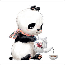 PVC-tavla  Tea time with panda - Kidz Collection