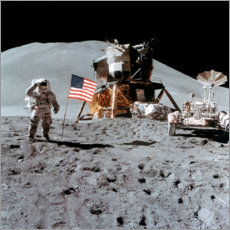 Premiumposter  James Irwin gives a salute on the moon
