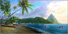 Akrylglastavla  Soufriere Beach - Jonathan Guy-Gladding