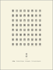 Trätavla  I Ching Chart With 64 Hexagrams (King Wen sequence) - Thoth Adan