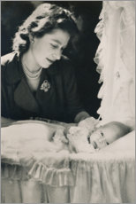 Premiumposter Princess Elizabeth with her son Prince Charles