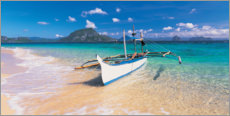 Premiumposter Fishing boat on the beach