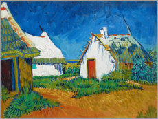 Trätavla  Three white huts in Saintes-Maries - Vincent van Gogh