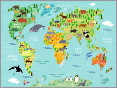 Canvastavla  World Map of Animals (Spanish) - Kidz Collection