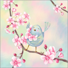 Premiumposter Bird with cherry blossoms