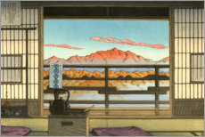 Trätavla  Morning at Hot Spring Resort in Arayu - Kawase Hasui