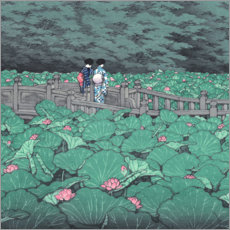Canvastavla  Pond at Benten Shrine (detail) - Kawase Hasui