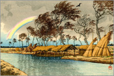 Canvastavla  Rainbow at Hatta in Kaga province - Kawase Hasui