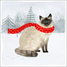 Premiumposter Cat with scarf