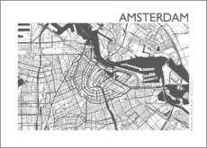 Canvastavla  Map of Amsterdam - 44spaces