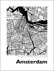 Premiumposter  Map of Amsterdam - 44spaces