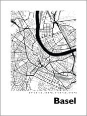 Premiumposter City map of Basel