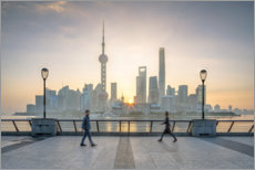 Premiumposter Waterfront of Shanghai in front of the Pudong skyline