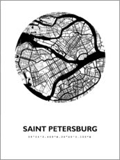 Premiumposter  City map of Saint Petersburg - 44spaces