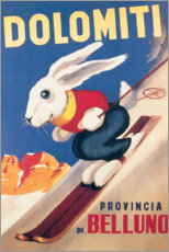 Självhäftande poster  Dolomites ski rabbit (Italian) - Travel Collection