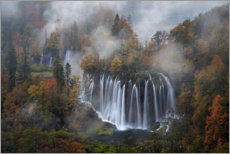 Premiumposter Plitvice Lakes National Park with fog