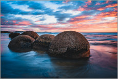 Akrylglastavla  Sunset at Moeraki Boulders in New Zealand - Igor Kondler