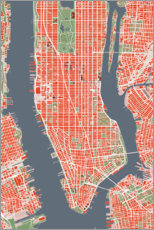 Premiumposter City plan of New York, colorful
