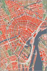 PVC-tavla  City map of Amsterdam, colorful - PlanosUrbanos