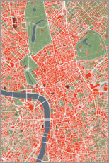 Premiumposter City map of London, colorful
