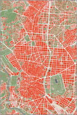 Poster City map of Madrid, colorful