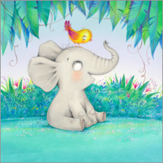 PVC-tavla  Elephant with a little friend - Ela Jarzabek