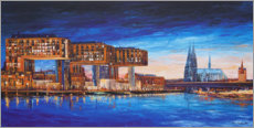 Premiumposter  Cologne view, crane houses and cathedral - Renate Berghaus