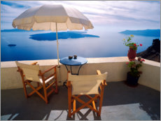 Canvastavla  Balcony with sea view in Oia - Jaynes Gallery