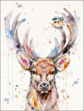 Poster  Deer and sparrow - Sillier Than Sally
