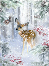 Premiumposter  Fawn in the winter forest - Lisa Alderson