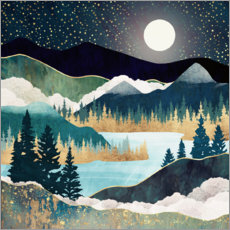 Aluminiumtavla  Star Lake Landscape - SpaceFrog Designs