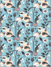 Premiumposter Spring Flowers Blue