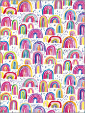 Trätavla  Colorful watercolor rainbows - Ninola Design