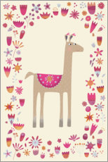 Premiumposter  Llama with Flowers - Nic Squirrell