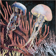 Premiumposter  Metallic coral with Jellyfish - SpaceFrog Designs