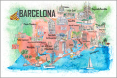 Premiumposter Barcelona map with sights